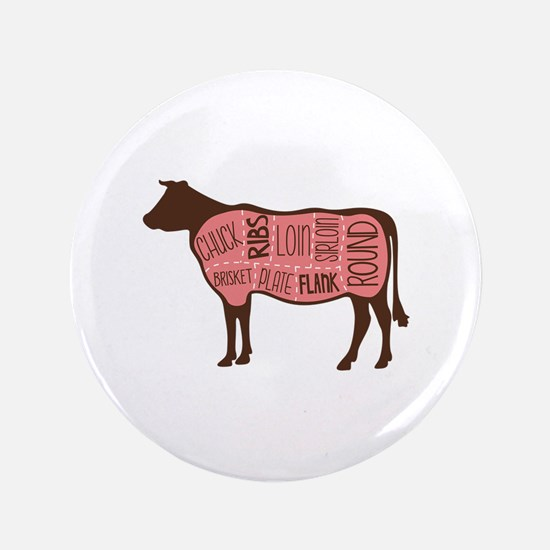 """Cow Meat Cuts Diagram 3.5"""" Button (100 pack)"""