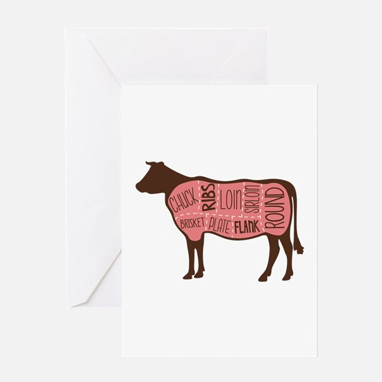 Cow Meat Cuts Diagram Greeting Cards