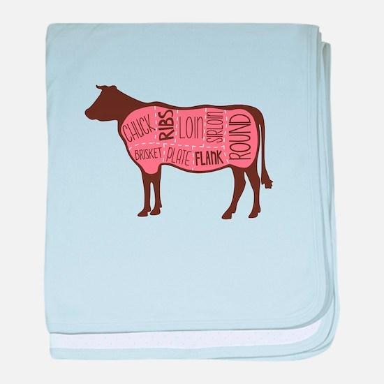 Cow Meat Cuts Diagram baby blanket