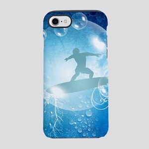 Surfboarder with water splash and bubbles iPhone 7