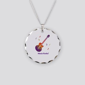 Personalized Fire Guitar Necklace Circle Charm