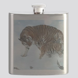 Tiger in the snow Flask
