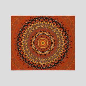 Autumn Leaves Rust Mandala Throw Blanket