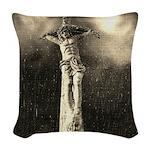 Jesus Crucifixion Scene Woven Throw Pillow