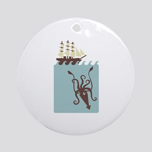 Giant Squid Ship Ornament (Round)
