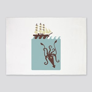 Giant Squid Ship 5'x7'Area Rug