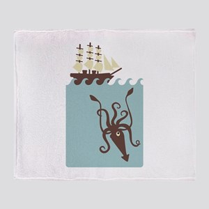Giant Squid Ship Throw Blanket