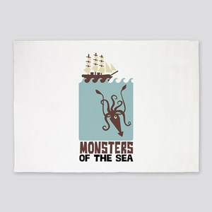 Monsters Of The Sea 5'x7'Area Rug
