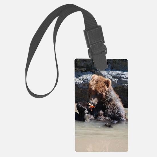 Bathing Brown Bear Luggage Tag