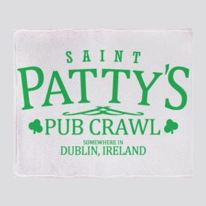 St Pattys Pub Crawl Throw Blanket