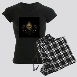 Golden skull with crow and floral elements Pajamas