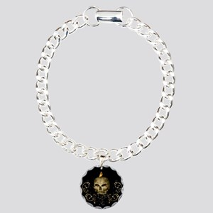 Golden skull with crow and floral elements Bracele