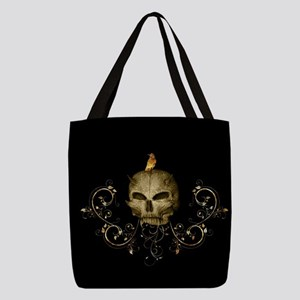 Golden skull with crow and floral elements Polyest