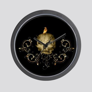 Golden skull with crow and floral elements Wall Cl