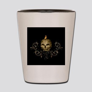 Golden skull with crow and floral elements Shot Gl