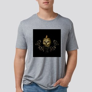 Golden skull with crow and floral elements T-Shirt