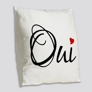 Oui, yes, French word art with red heart Burlap Th