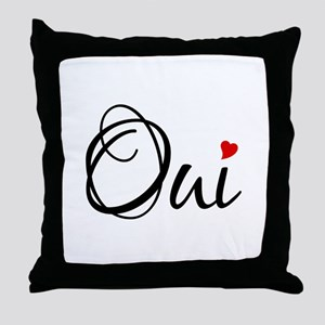 Oui, yes, French word art with red heart Throw Pil