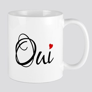 Oui, yes, French word art with red heart Mugs