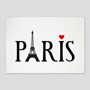 Paris with Eiffel tower, French word art 5'x7'Area