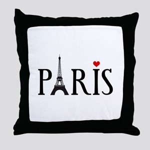 Paris with Eiffel tower, French word art Throw Pil