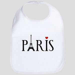 Paris with Eiffel tower, French word art Bib