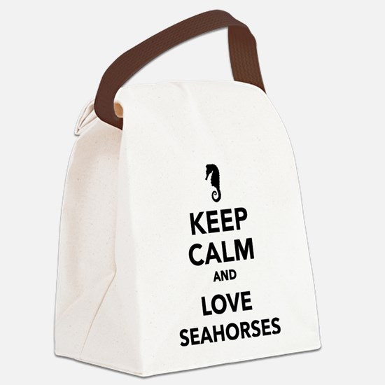 Keep calm and love seahorses Canvas Lunch Bag