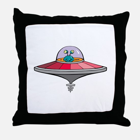 Alien Saucer Throw Pillow