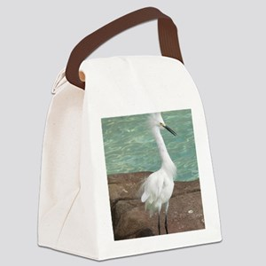 White Egret Canvas Lunch Bag