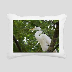 White Egret Bird in a Tr Rectangular Canvas Pillow