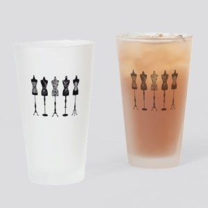Vintage fashion mannequins Drinking Glass