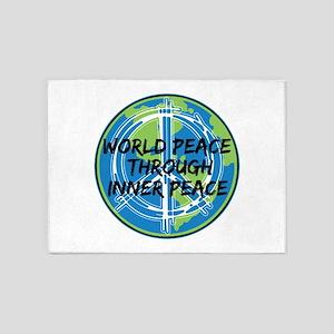World Peace Through Inner Peace 5'x7'Area Rug