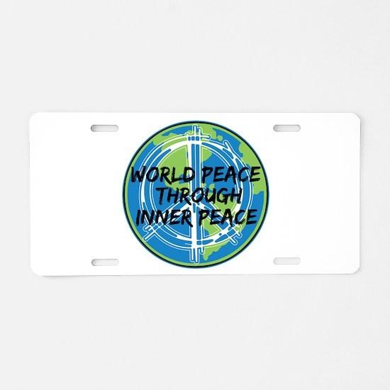 World Peace Through Inner P Aluminum License Plate