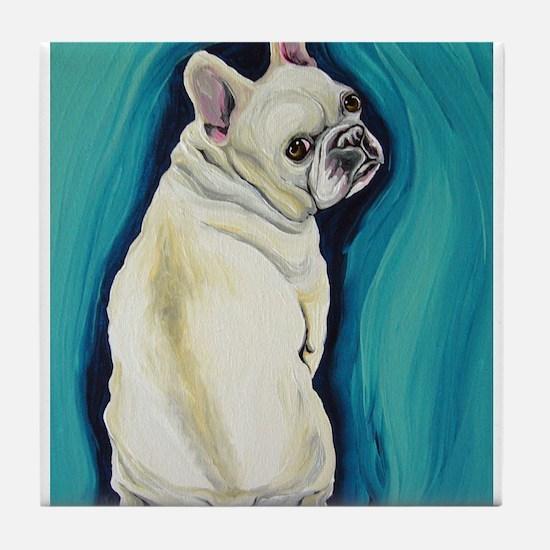White French Bulldog Tile Coaster