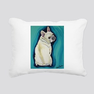 White French Bulldog Rectangular Canvas Pillow