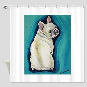 White French Bulldog Shower Curtain