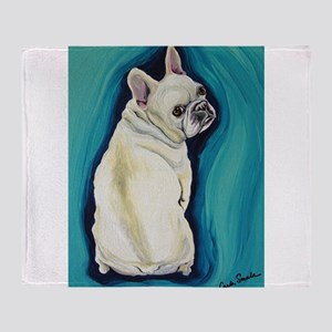 White French Bulldog Throw Blanket