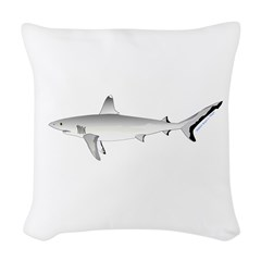 Grey Blacktail Reef Shark Woven Throw Pillow