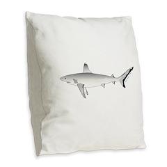 Grey Blacktail Reef Shark Burlap Throw Pillow