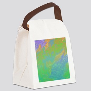 Colorful Green Blue Art Splash Canvas Lunch Bag