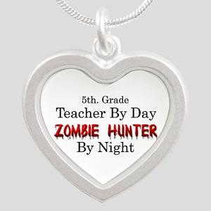 5th. Grade Teacher/Zombie Hu Silver Heart Necklace