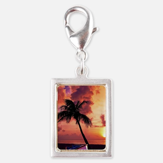 Sunset with Boot Silver Portrait Charm