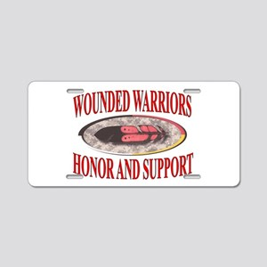 HONOR WOUNDED WARRIORS Aluminum License Plate