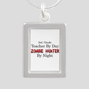 3rd. Grade Teacher/Zombi Silver Portrait Necklace