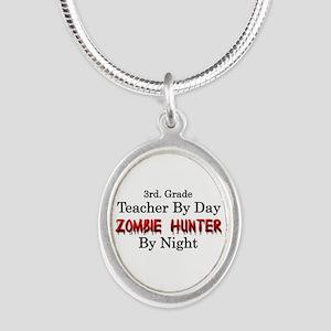 3rd. Grade Teacher/Zombie Hun Silver Oval Necklace