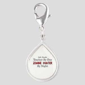 3rd. Grade Teacher/Zombie H Silver Teardrop Charm