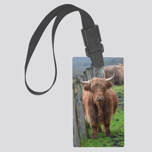 Highland Cow Standing by Highlan Large Luggage Tag