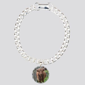 Highland Cow Standing by Charm Bracelet, One Charm