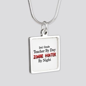 2nd. Grade Teacher/Zombie Silver Square Necklace