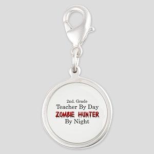 2nd. Grade Teacher/Zombie Hunt Silver Round Charm